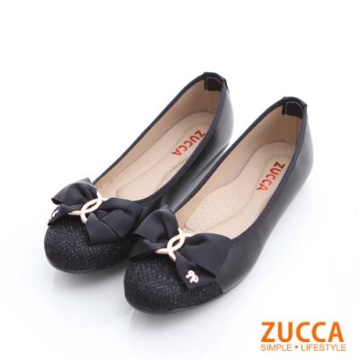 ZUCCA-拼接金屬朵結環平底鞋-黑-z6608bk