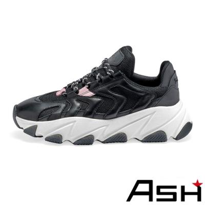 ASH-EXTREME時尚潮流波浪纹拼接增高厚底老爹鞋-黑紅