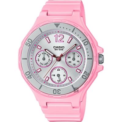 CASIO 卡西歐 迷你運動風日曆女錶-銀圈x粉紅(LRW-250H-4A2)