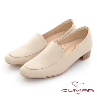 【CUMAR】復古素雅深口粗跟樂福鞋-卡其