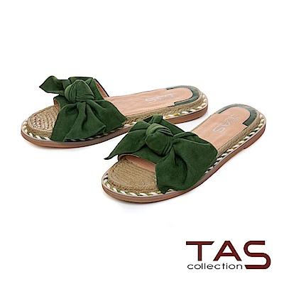 TAS 立體羊毛蝴蝶結平底涼拖鞋-知性綠