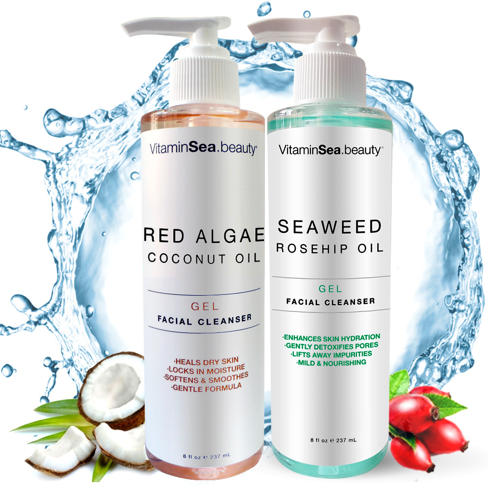VS紅藻椰子油高鎖水卸妝凝膠+海茴香玫瑰果油淨白透亮潔膚膠★市價2000