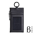 BAGMIO authentic 人字紋牛皮3卡鑰匙零錢包 墨黑