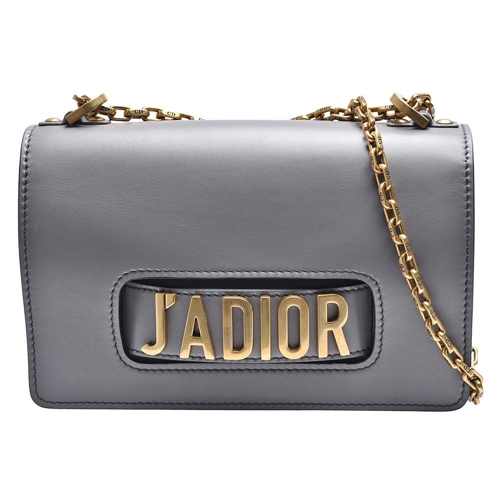 Dior 經典J'adior系列小牛皮復古金色金屬J'adior標誌手拿/斜背包(灰)