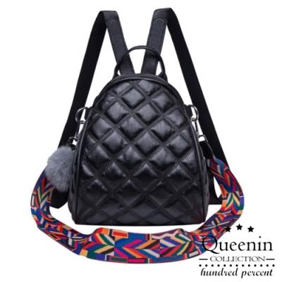 DF Queenin日韓 - 歐美女星小香菱格紋3WAYS手提斜背後背包