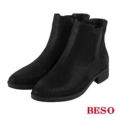 BESO 低調光芒 復古鬆緊帶粗跟短靴~黑
