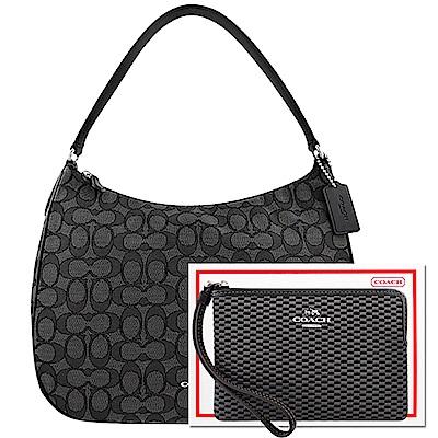 COACH 黑色大C織紋側肩包-大型+COACH 黑色馬車織紋手拿包