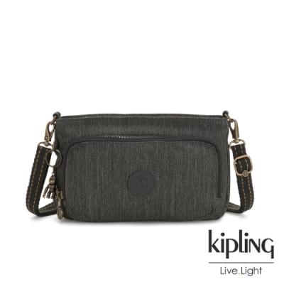 Kipling 復古質感丹寧黑前袋拉鍊長形肩背包-MYRTE