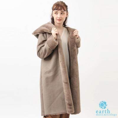 earth music 溫暖感毛絨連帽長版大衣外套