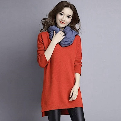 La Belleza雙V領素面包心紗前短後長開叉針織洋裝(焦糖色)