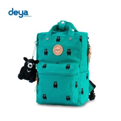 deya 熊森林系刺繡帆布小後背包-綠