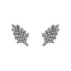 apm MONACO法國精品珠寶 閃耀深灰銀色葉片造型耳針式耳環