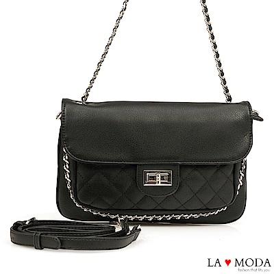 La Moda 氣質滿點小香風菱格紋鍊條綴飾宴會約會鏈帶包(黑)