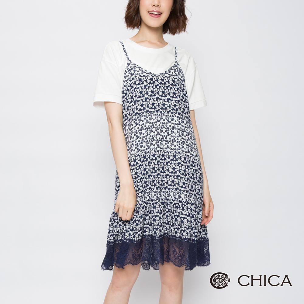 CHICA 花漾年華細肩帶碎花蕾絲洋裝(2色)