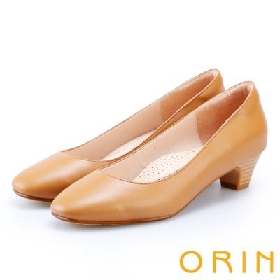 ORIN 簡約時尚OL 素面柔軟牛皮粗跟鞋-棕色