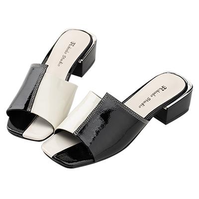 Robinlo 優雅名媛雙色方頭低跟涼拖鞋 黑色