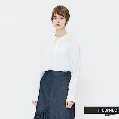 H:CONNECT 韓國品牌 女裝-休閒排扣棉麻襯衫-白