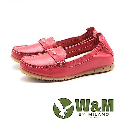 W&M 春意 柔軟皮革莫卡辛鞋 女鞋 - 紅