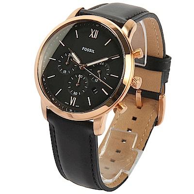 FOSSIL Neutra 簡約三眼計時皮革腕錶-(FS5381)-43mm
