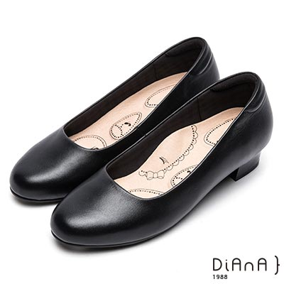 DIANA輕彈OL舒適3.5公分粗跟制鞋-漫步雲端布朗尼美人款-黑