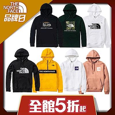 【The North Face】YAHOO 限時優惠-北面經典熱銷男女款大學帽T(8款任選)