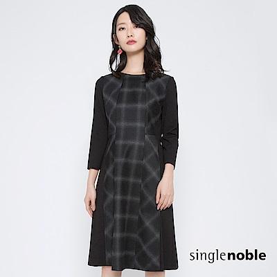 獨身貴族 復刻衣櫥拼接格紋羊毛混紡洋裝(1色)