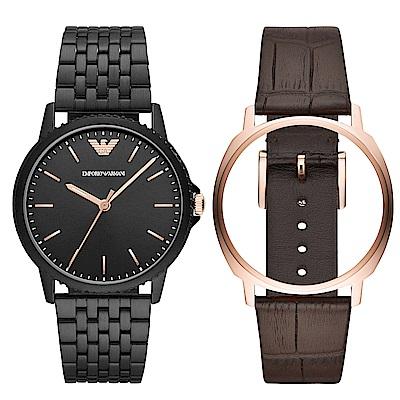 Emporio Armani 紳仕風尚雙錶帶錶框手錶組AR80021-黑X玫瑰金/42mm