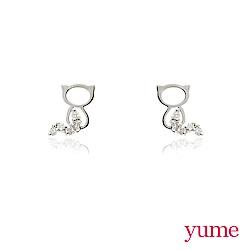YUME - K金小貓咪晶鑽耳環