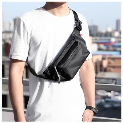 A CLASSIC-男士PU尼龍防水個性休閒斜跨包腰包(腰包)