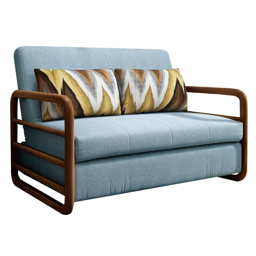 文創集 艾多絲絨布沙發/沙發床(二色可選+拉合式機能設計)-133x197x45.5cm免組