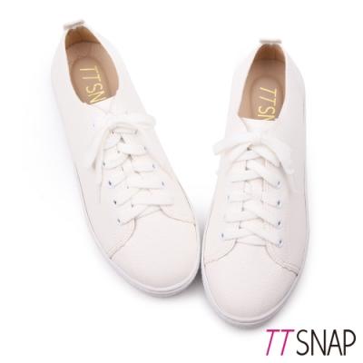 TTSNAP休閒鞋-MIT簡約綁帶輕量真皮厚底鞋 白