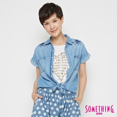 SOMETHING 牛仔瑰玫造型襯衫-女-漂淺藍