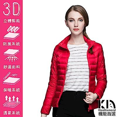 【KISSDIAMOND】SGS認證輕量立領90+羽絨外套女款亮紅