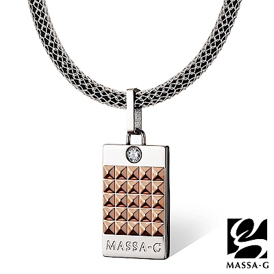 MASSA-G 玫瑰龐克純鈦墬搭配 X1 4mm超合金鍺鈦項鍊