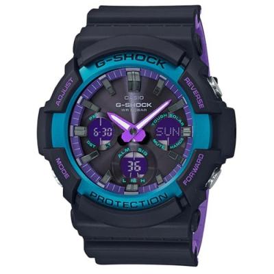 G-SHOCK 90年代復古運動主題霓虹視覺感休閒錶-(GAS-100BL-1ADR)52.2mm