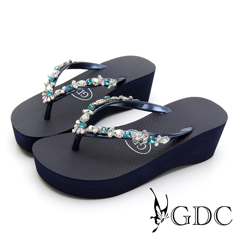 GDC-夏日繽紛水鑽厚底夾腳拖鞋-藍色