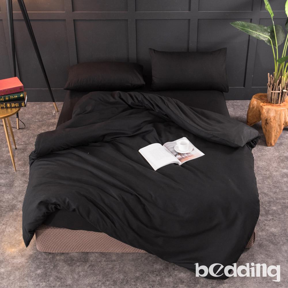 BEDDING-活性印染日式簡約純色系特大雙人床包兩用被四件組-黑沙色