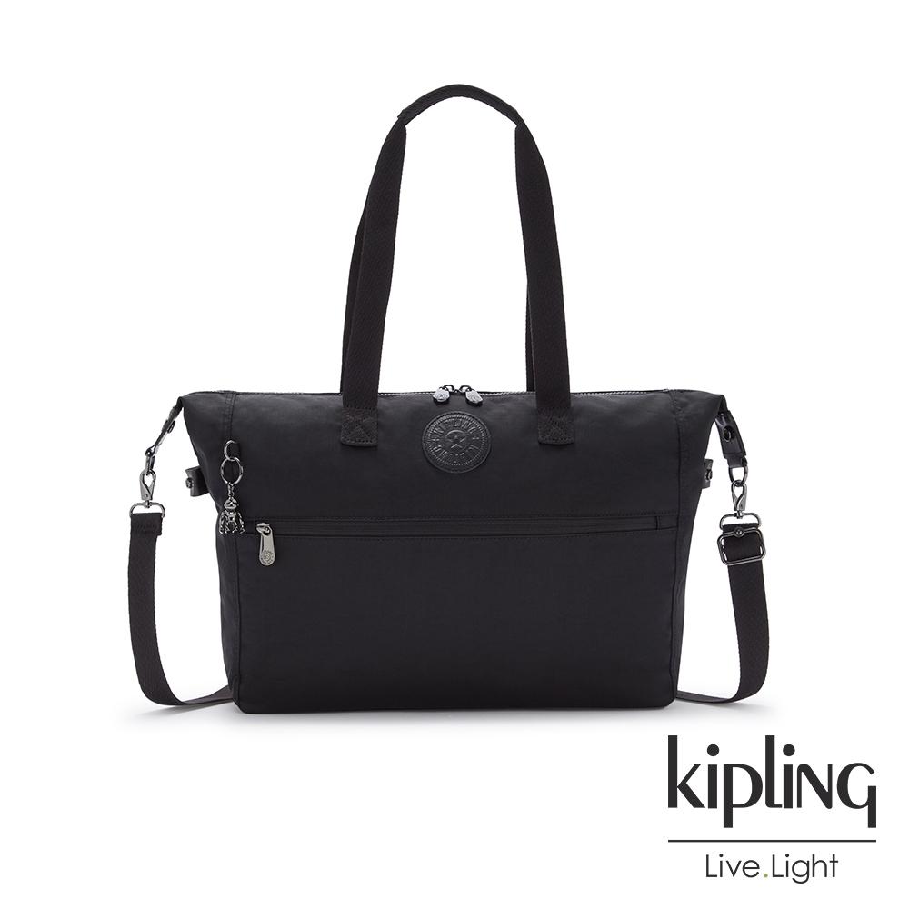 Kipling 極致低調黑前拉鍊手提肩背斜背托特包-ILIA