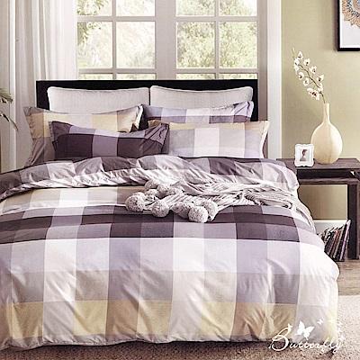 BUTTERFLY-台製柔絲絨單人薄式床包被套組-格子時代