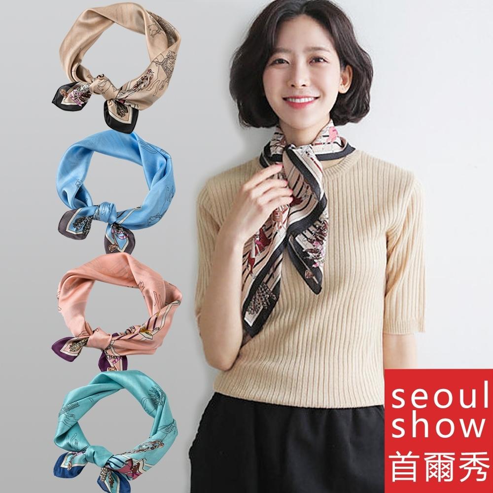 seoul show首爾秀 印第安馬方領巾仿蠶絲頭巾雪紡絲巾
