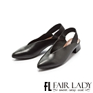 Fair Lady優雅小姐Miss ElegantV型鞋口後拉帶尖頭低跟鞋 黑