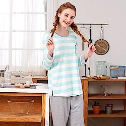 睡衣 條紋紅鶴 針織棉長袖兩件式睡衣(R77205-4湖水綠) 蕾妮塔塔
