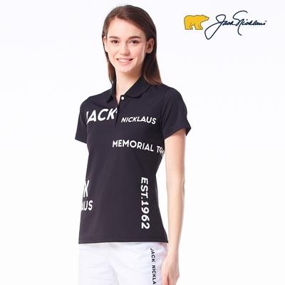 【Jack Nicklaus】金熊GOLF女款英文印花彈性吸濕排汗POLO衫-黑色