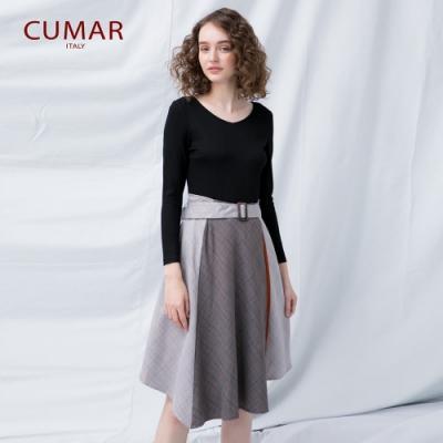 【CUMAR】腰帶設計條紋連身-洋裝(黑色)