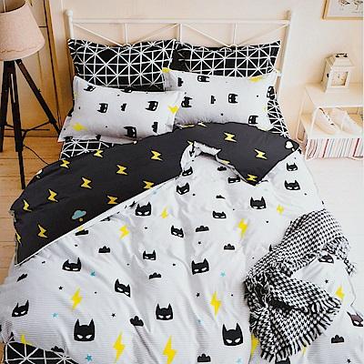 A-one -  雙人涼被床包 四件組 小蝙蝠 雪紡棉磨毛加工處理 台灣製