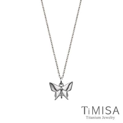TiMISA 幾何小蝴蝶 純鈦(極細鎖骨)項鍊(B)