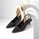 Grace gift-尖頭後空繫帶低跟鞋 黑