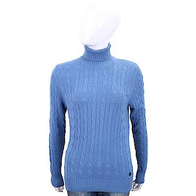Andre Maurice 喀什米爾麻花織紋蔚藍色高領羊毛衫
