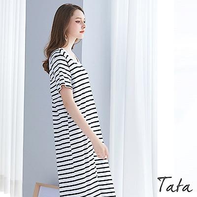正韓背後鏤空條紋洋裝 共二色 TATA