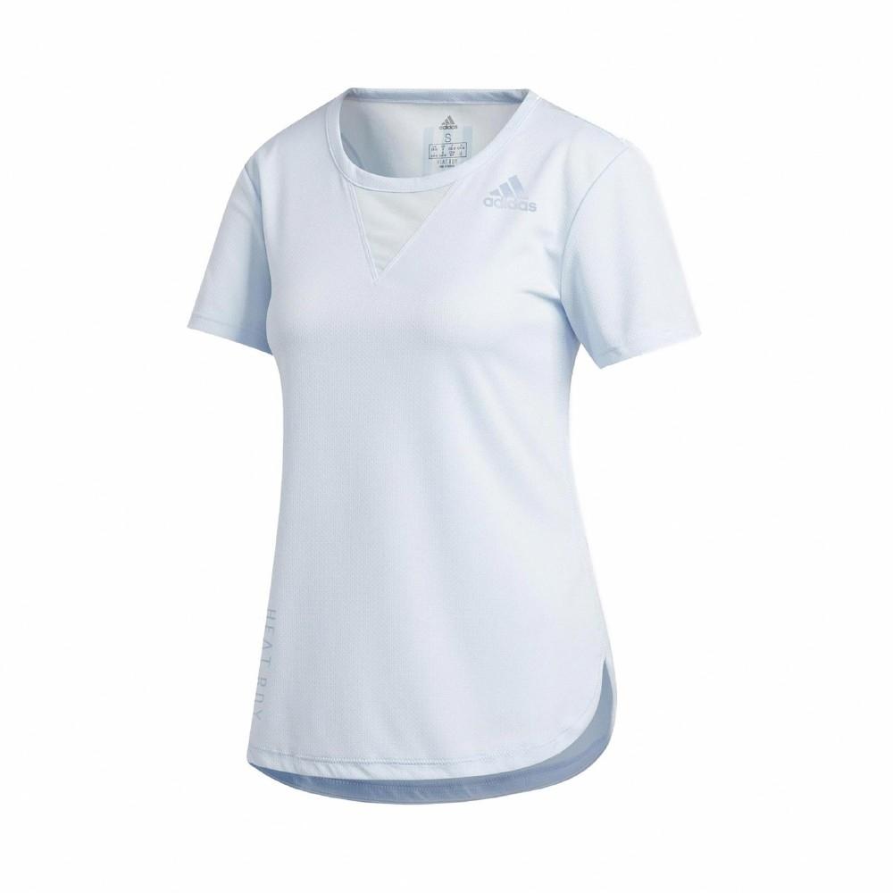adidas T恤 3-Stripes Tee 運動休閒 女款 愛迪達 張鈞甯 透氣 路跑 健身 重訓 藍 FK9617